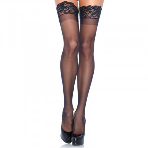 LA Stay Up Sheer Thigh Highs Black