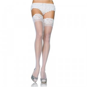 LA Stay Up Sheer Thigh Highs White