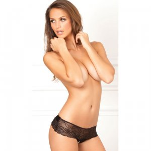 Crotchless Lace Bow-Back Panty Black
