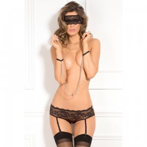 3PC Crotchless Panty and Mask Set