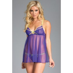 Megan Sheer Mesh Babydoll and Thong