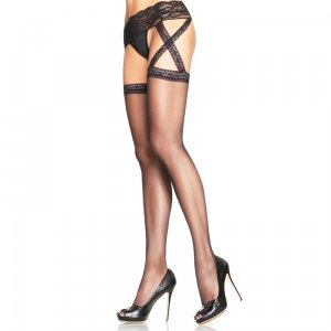 LA Stockings with Attached Criss Cross Lace Garterbelt