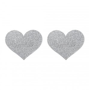 Flash Heart Nipple Stickers - Silver