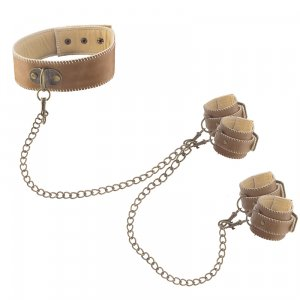 Leather Collar, Hand and Ankle Cuffs