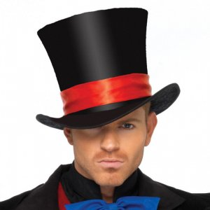 LA Mens Velvet Top Hat Black with Red Satin Detail