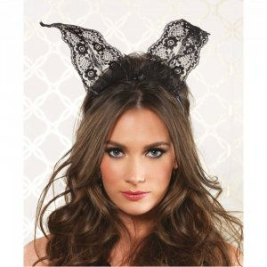 LA Scalloped Lace Bunny Ears Headband Black