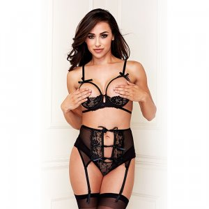 3PC Show Me Bra Garter and Crotchless Panty Set