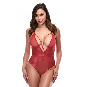 Strappy Teddy with Deep V - Red
