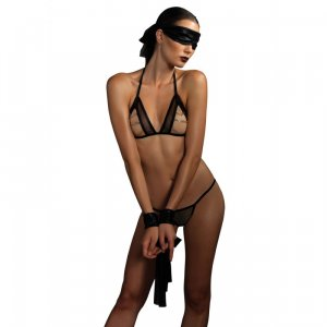 KINK Open Cup Top and Panty with Chain Accent, Mask and Wrist Restraints