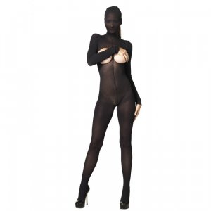 LA KINK Hooded Opaque Cupless and Crotchless Bodystocking Black