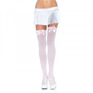 LA Light Pink Nylon Thigh High with Satin Bow