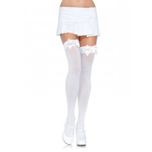 LA White Nylon Thigh High with Light Pink Bow
