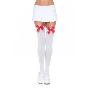 LA White Nylon Thigh High with Red Bow