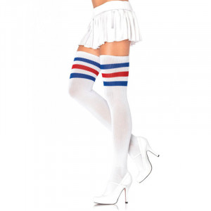 LA 3 Stripes Athletic Ribbed Thigh Highs White