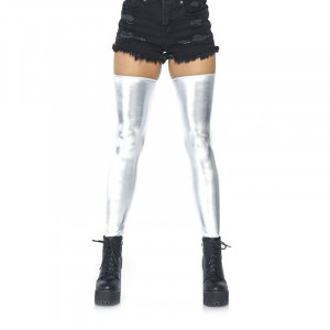 Wet Look Thigh Highs - Silver