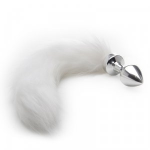 White Furry Tail w Silver Buttplug