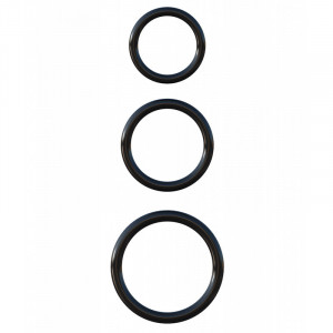Silicone 3-Ring Stamina Set - Black