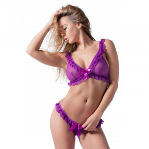 Purple Set with Soft Bra and G-String