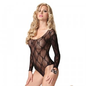 LA Long Sleeved Lace Teddy with Bows Black