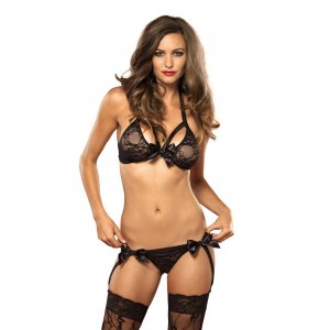 Lace Bra And Garter G-String