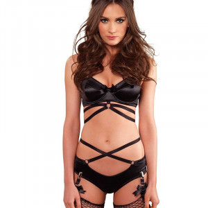 LA Strappy Bra & Panty with Garters Black