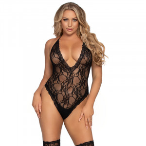 LA Floral Deep-V Teddy and Matching Stockings
