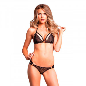 LA Strappy Lace Cage Bikini Top and Panty Black