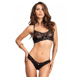 LA Lace Halter Bralette with Cut Out Thong Black