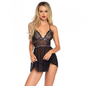 LA Lurex Lace Babydoll With String