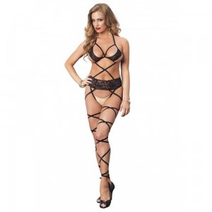 Lace wrap around bodystocking