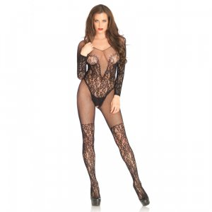 LA Vine lace and net bodystocking