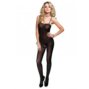 LA Opaque Bodystocking with Spagetti Straps and Open Crotch Black