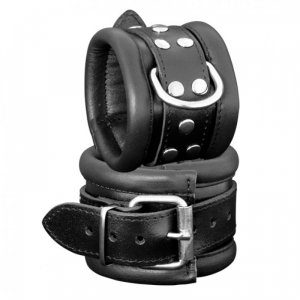 Kiotos Leather Handcuffs 6,5cm - Black