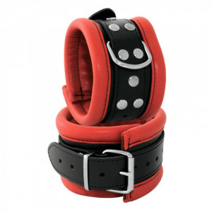 Kiotos Leather Anklecuffs 6,5cm - Red