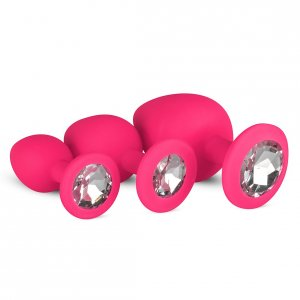 Silicone Buttplug Set with Diamond