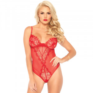 LA Lace and Sheer Mesh Teddy - Red