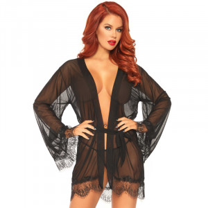 LA Sheer Robe with Flared Sleeves Black