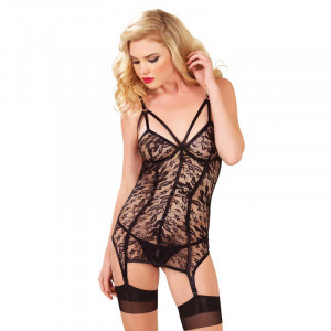 LA Lace Garter Dress & G-string - Black