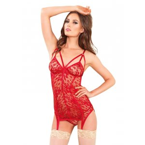 LA Lace Garter Dress & G-string - Red