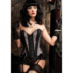 LA Gabrielle Corset with Satin and Lace Stripes