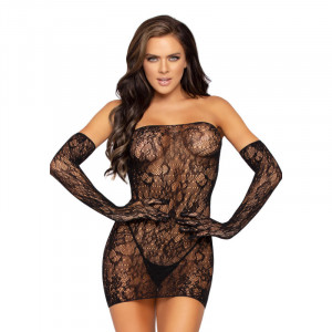 Lace Tube Dress with Gloves