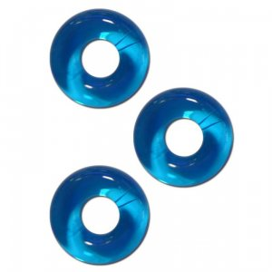 Chubby Rubber Cockring 3-Pack - Ice Blue
