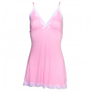 LA Flirty Jersey Nightie with Lace Trim Pink/White