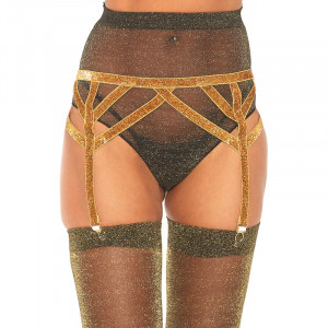 LA Lurex Elastic Garter Belt - Gold