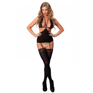 LA Cut Out Suspender Bodystocking