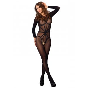 LA Opaque Long Sleeved Crotchless Bodystocking with Teddy Harness (2 pcs)