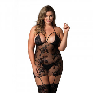 LA Lace Cage Strap Suspender Bodystocking Queen
