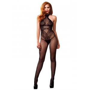 LA Seamless Fishnet Halter Bodystocking with Lace Details