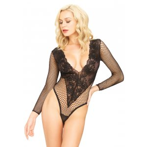 LA Deep V Floral Lace And Net Teddy