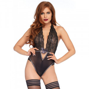 LA Lurex Lace Halter Teddy